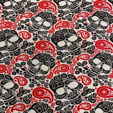 Paisley Skull Poly Cotton Fabric