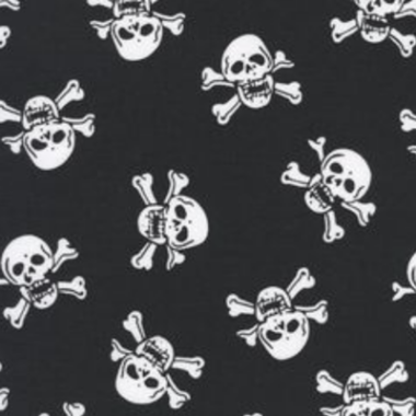 Skull and Crossbone poly cotton fabric