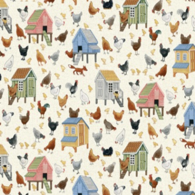 Village Life Chickens Makower Cotton Fabric
