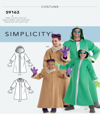 Simplicity Pattern S9163 Unisex Childrens, Teens & Adults Costumes