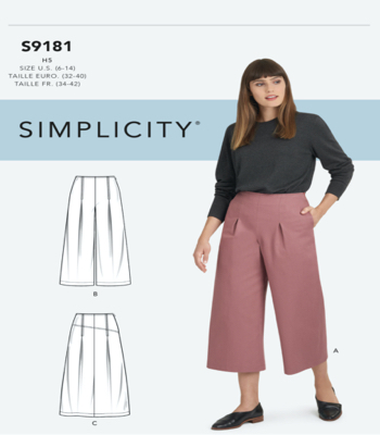 Simplicity Sewing Pattern S9181 Misses Cropped Pants and Skirt