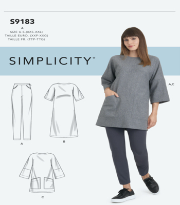Simplicity Sewing Pattern S9183 Misses Tunic, Top, Dress & Legging