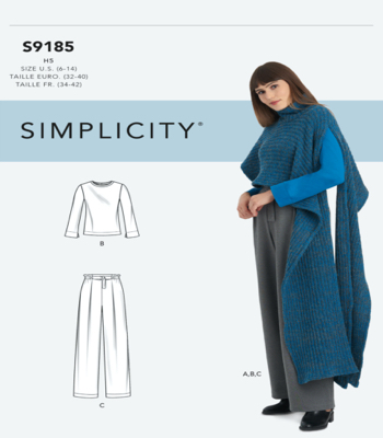 Simplicity Sewing Pattern S9185 Misses Knit Top, Pants & Knit Cape