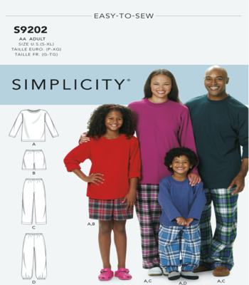 Simplicity Sewing Pattern S9202 Misses/Men's/Childrens/Boys/Girls T-Shirt, Shorts and Pants