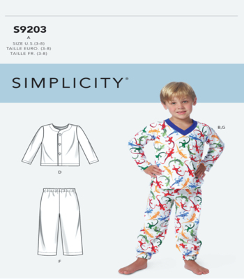 Simplicity Sewing Pattern S9203 Childrens/Boys Tops, Shorts and Pants