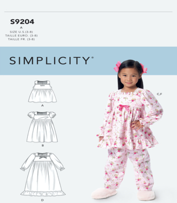 Simplicity Sewing Pattern S9204 Childrens/Girls Gathered Tops, Dresses, Gown and Pants