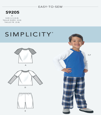 Simplicity Sewing Pattern S9205 Childrens/Boys Raglan Sleeve Tops, Shorts and Pants