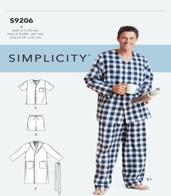 Simplicity Sewing Pattern S9206 Mens Robe, Belt, Tops, Pants and Shorts