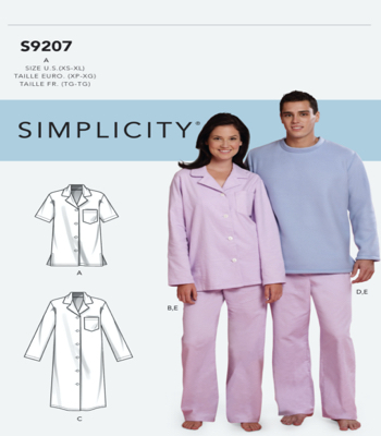 Simplicity Sewing Pattern S9207 Misses/Mens Tops, Nightshirt, Pants and Sweatsuit For Dog