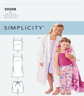 Simplicity Sewing Pattern S9208 Childrens/Girls Robe, Belt, Tops, Gown, Shorts and Pants