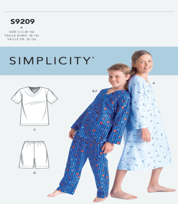 Simplicity Sewing Pattern S9209 Boys/Girls V-Neck Shirts, Gown, Shorts and Pants