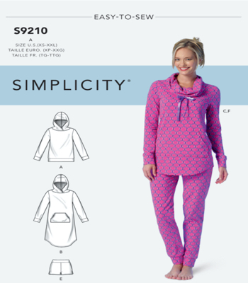 Simplicity Sewing Pattern S9210 Misses Tops, Dress, Shorts, Pants and Slippers