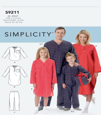 Simplicity Sewing Pattern S9211 Misses/Mens/Boys/Girls Patch Pocket Top, Nightshirt and Pants