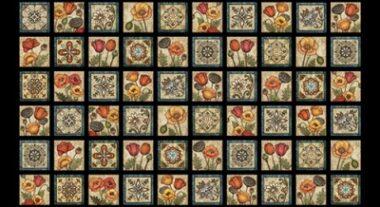 In Bloom Tiles Dan Morris Quilting Fabric