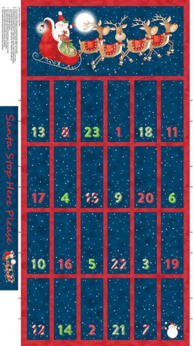 Northcott Santa Stop Here Advent Calendar Panel