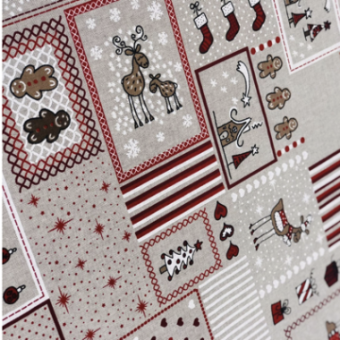 Christmas Square Linen Look Canvas Fabric