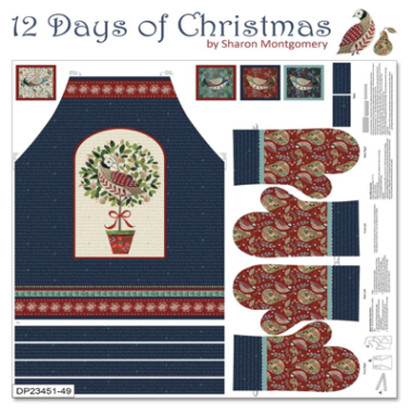 12 Days Of Christmas Apron Fabric Panel by Sharon Montgomery