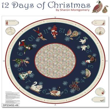 12 Days Of Christmas Tree Skirt Fabric Panel by Sharon Montgomery