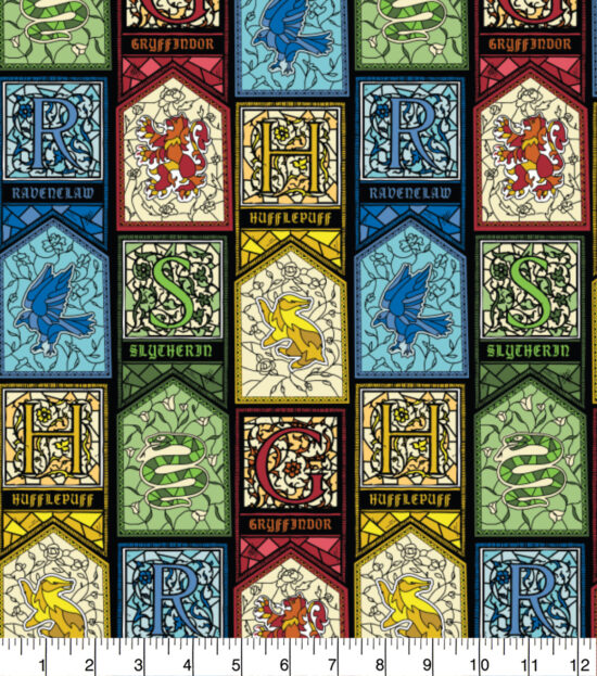 Harry Potter Stained Glass Houses Cotton Fabric