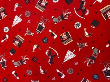 Christmas Town Rose and Hubble Cotton Fabric