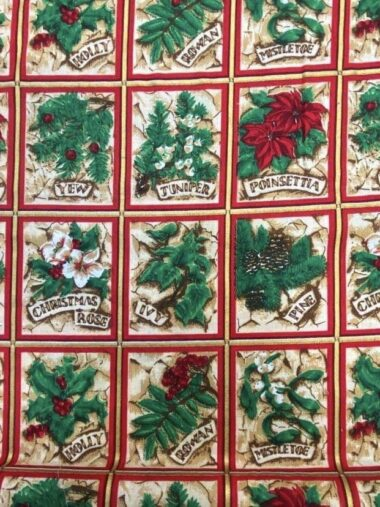 Ivy and Holly Christmas Rose and Hubble Cotton Fabric