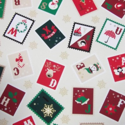 Rose and Hubble Christmas Stamps Fabric