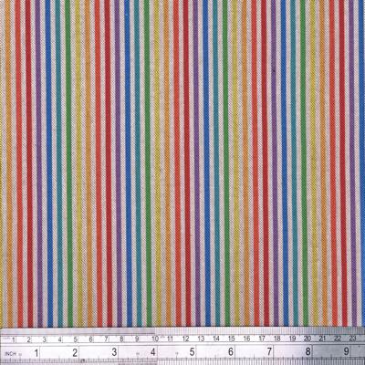 Rainbow Stripe Digital Linen Look Fabric