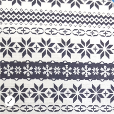 Christmas Stripe Grey Poly Cotton Fabric