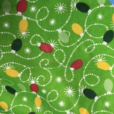 Christmas Lights Green Poly Cotton Fabric