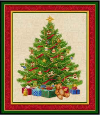 Christmas Tree Fabric Panel By Liza Bea