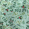 Christmas Holly Mint Poly Cotton Fabric