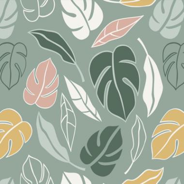 Botanical Jungle Leaves Green Cotton Fabric