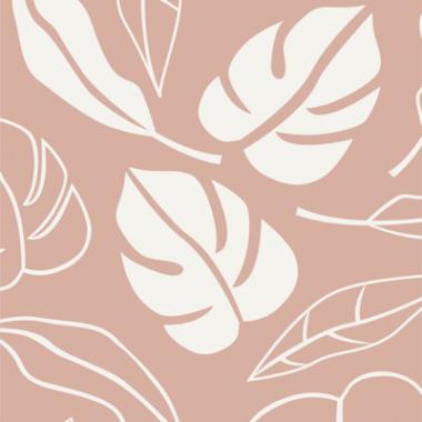 Botanical Jungle Leaves Salmon Cotton Fabric