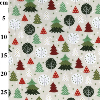 Christmas Tree Rose and Hubble Cotton Fabric