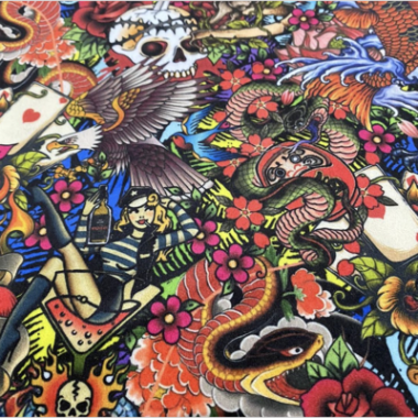 Rock N Roll Tattoo Velvet Digital Printed Fabric