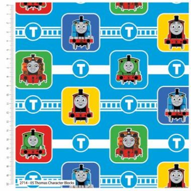 Thomas The Tank Engine Blocks Cotton Fabric