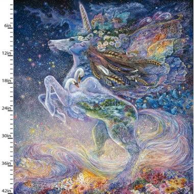 Celestial Journey Unicorn Panel 3 Wishes Cotton Fabric