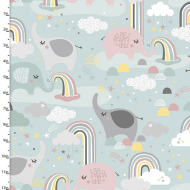 Small and Mighty Elephant Rainbow 3 Wishes Cotton Flannel Fabric