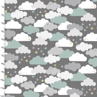 Small and Mighty Clouds 3 Wishes Cotton Flannel Fabric
