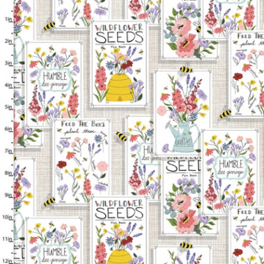Feed The Bees Seed Patch 3 Wishes Cotton Fabric