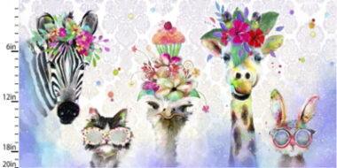 Party Animals Linear Panel 3 Wishes Cotton Fabric