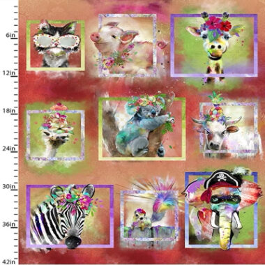 Party Animals Animals Panel 3 Wishes Cotton Fabric