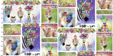 Party Animals Animal Phrases 3 Wishes Cotton Fabric