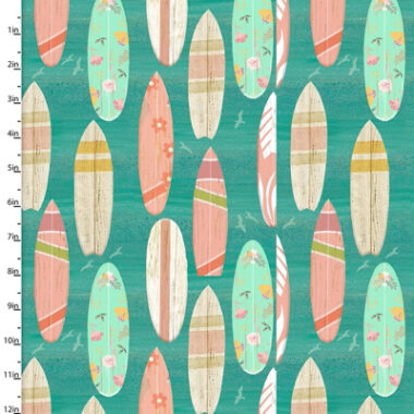 Beach travel Surf Boards 3 Wishes Cotton Fabric