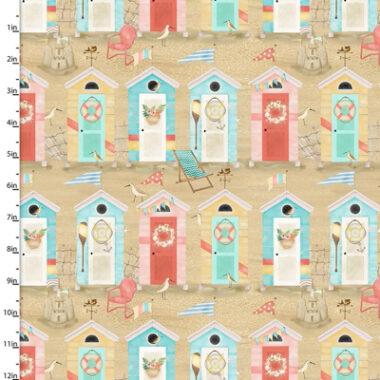 Beach travel Beach Huts 3 Wishes Cotton Fabric