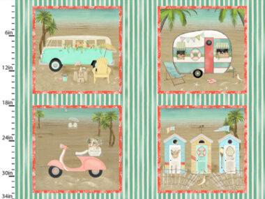 Beach travel Panel 3 Wishes Cotton Fabric