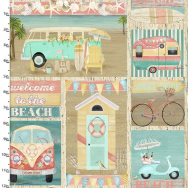 Beach Travel Patch 3 Wishes Cotton Fabric