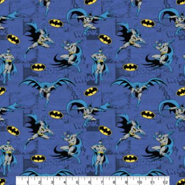 Batman Comics Blue Cotton Fabric