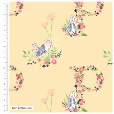 Peter Rabbit Floral Letter Cotton Fabric