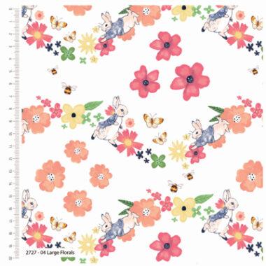 Peter Rabbit Larger Florals Cotton Fabric